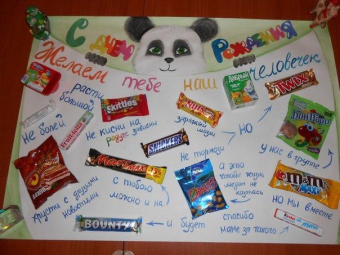 Как сделать сладкую открытку на день рождения девочке, открытку своими